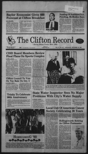 Primary view of object titled 'The Clifton Record (Clifton, Tex.), Vol. 97, No. 40, Ed. 1 Wednesday, September 30, 1992'.