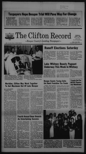 Primary view of object titled 'The Clifton Record (Clifton, Tex.), Vol. 91, No. 23, Ed. 1 Thursday, June 5, 1986'.