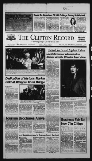 Primary view of object titled 'The Clifton Record (Clifton, Tex.), Vol. 101, No. 79, Ed. 1 Friday, October 4, 1996'.