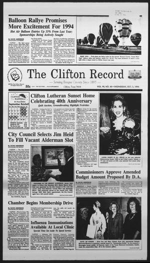 Primary view of object titled 'The Clifton Record (Clifton, Tex.), Vol. 99, No. 40, Ed. 1 Wednesday, October 5, 1994'.