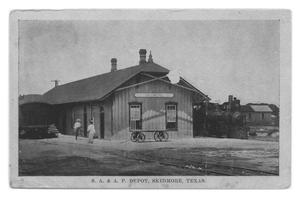 Primary view of object titled 'SA&AP Railroad Depot, Skidmore, Texas'.