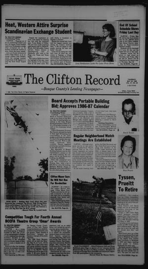 Primary view of object titled 'The Clifton Record (Clifton, Tex.), Vol. 91, No. 22, Ed. 1 Thursday, May 29, 1986'.