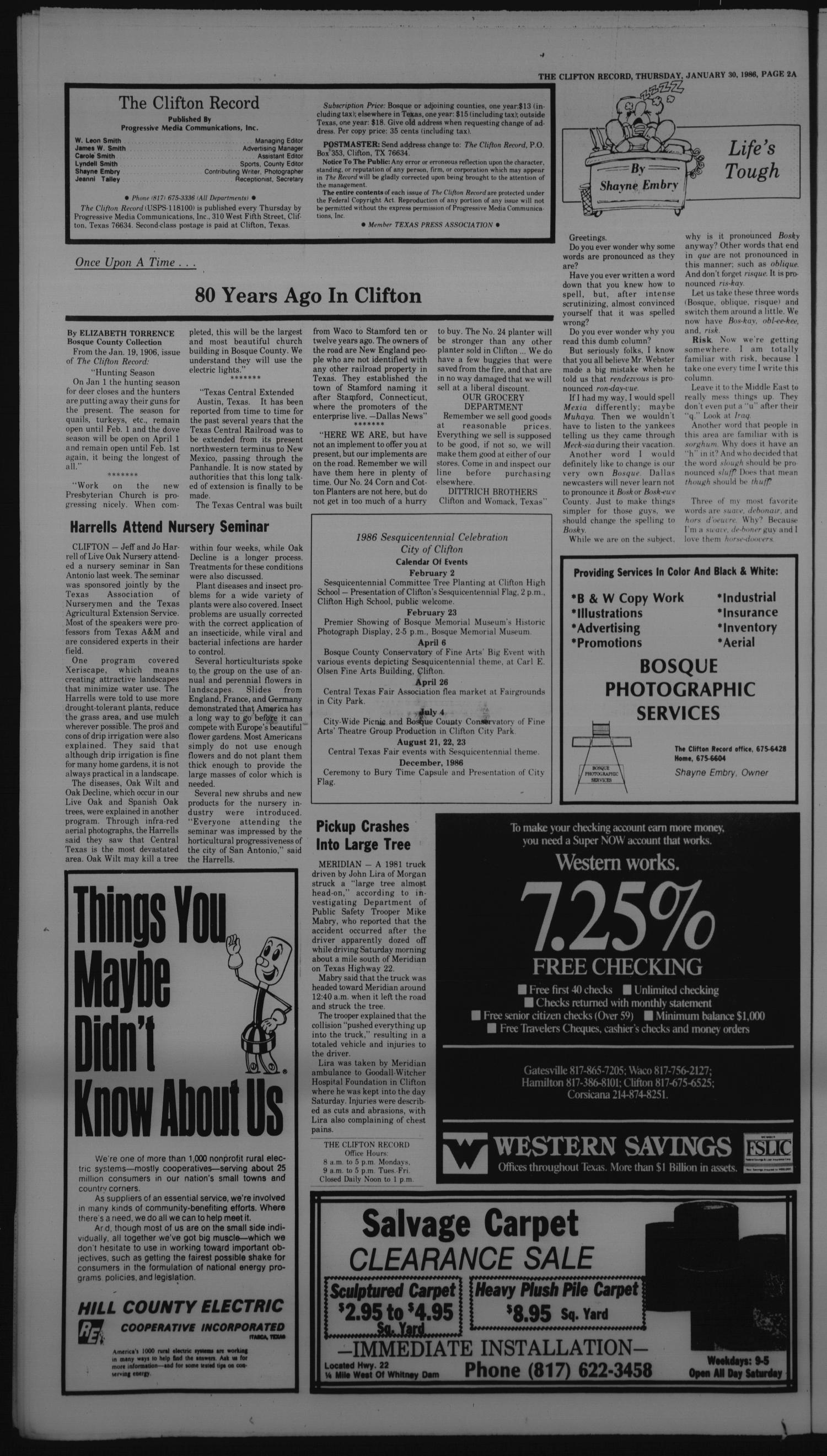 The Clifton Record (Clifton, Tex.), Vol. 91, No. 5, Ed. 1 Thursday, January 30, 1986                                                                                                      [Sequence #]: 2 of 30