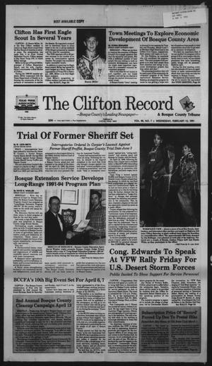 Primary view of object titled 'The Clifton Record (Clifton, Tex.), Vol. 96, No. 7, Ed. 1 Wednesday, February 13, 1991'.