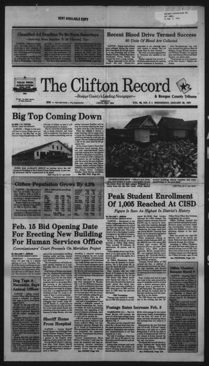 Primary view of object titled 'The Clifton Record (Clifton, Tex.), Vol. 96, No. 5, Ed. 1 Wednesday, January 30, 1991'.
