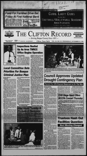 Primary view of object titled 'The Clifton Record (Clifton, Tex.), Vol. 101, No. 92, Ed. 1 Wednesday, November 20, 1996'.