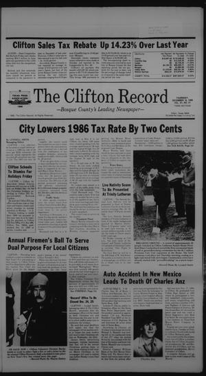 Primary view of object titled 'The Clifton Record (Clifton, Tex.), Vol. 91, No. 51, Ed. 1 Thursday, December 18, 1986'.