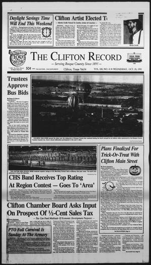 Primary view of object titled 'The Clifton Record (Clifton, Tex.), Vol. 100, No. 43, Ed. 1 Wednesday, October 25, 1995'.