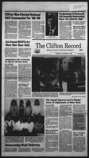 Primary view of object titled 'The Clifton Record (Clifton, Tex.), Vol. 93, No. 37, Ed. 1 Thursday, September 15, 1988'.