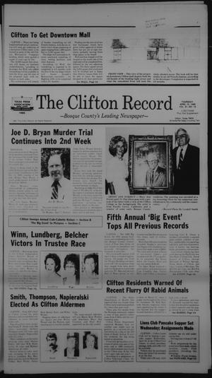Primary view of object titled 'The Clifton Record (Clifton, Tex.), Vol. 91, No. 15, Ed. 1 Thursday, April 10, 1986'.