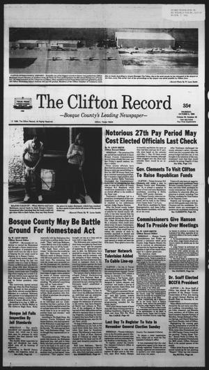 Primary view of object titled 'The Clifton Record (Clifton, Tex.), Vol. 93, No. 40, Ed. 1 Thursday, October 6, 1988'.
