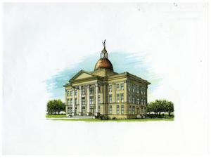 Primary view of object titled 'Bee County Courthouse Drawing'.
