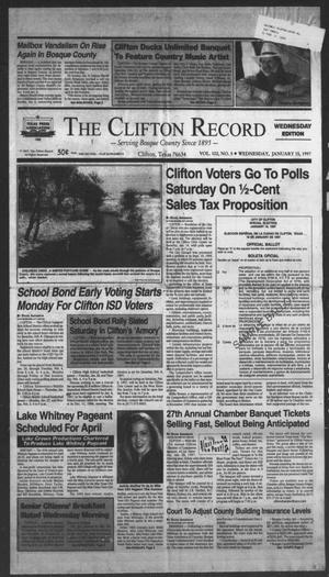 Primary view of object titled 'The Clifton Record (Clifton, Tex.), Vol. 102, No. 5, Ed. 1 Wednesday, January 15, 1997'.