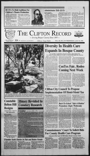 Primary view of object titled 'The Clifton Record (Clifton, Tex.), Vol. 100, No. 29, Ed. 1 Wednesday, July 19, 1995'.