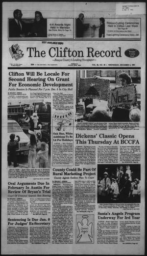 Primary view of object titled 'The Clifton Record (Clifton, Tex.), Vol. 96, No. 49, Ed. 1 Wednesday, December 4, 1991'.