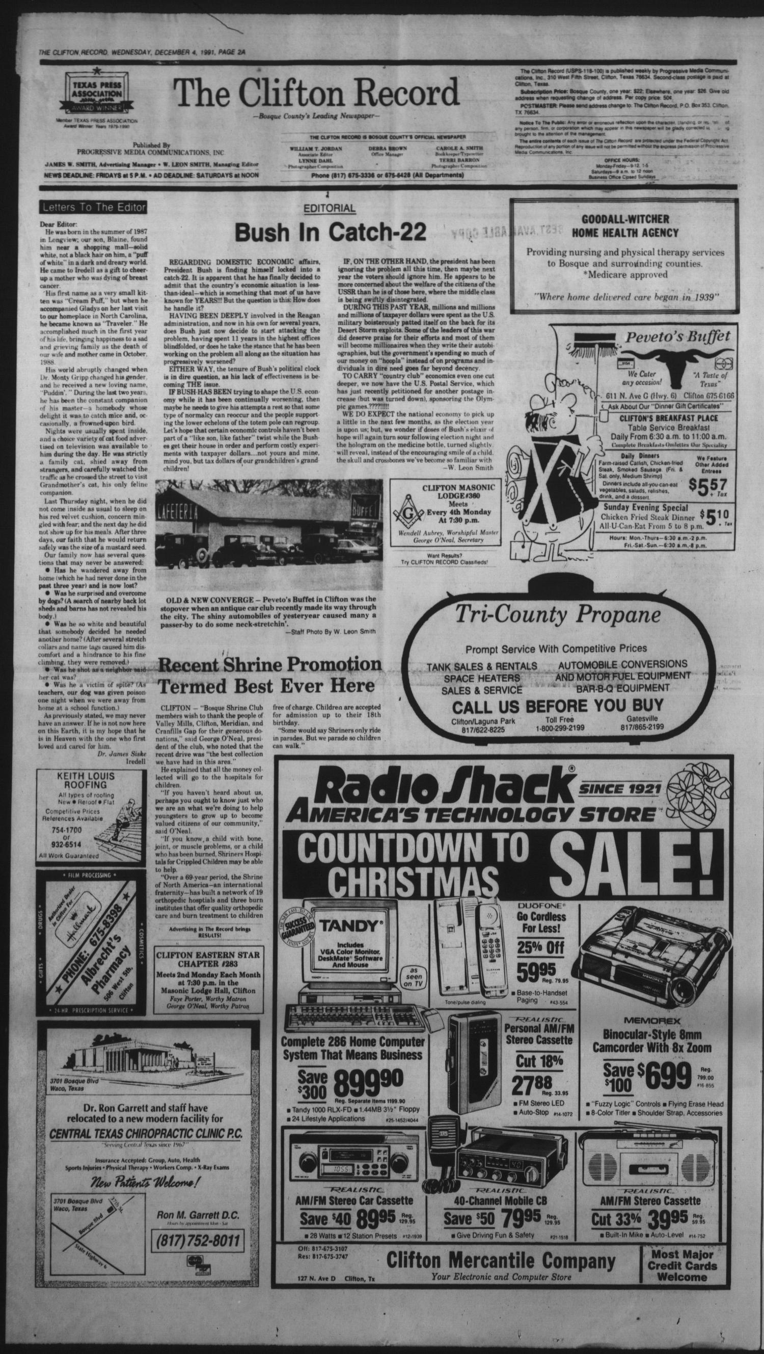 The Clifton Record (Clifton, Tex.), Vol. 96, No. 49, Ed. 1 Wednesday, December 4, 1991                                                                                                      [Sequence #]: 2 of 24