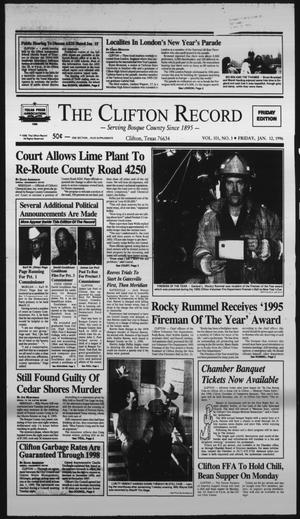 Primary view of object titled 'The Clifton Record (Clifton, Tex.), Vol. 101, No. 3, Ed. 1 Friday, January 12, 1996'.