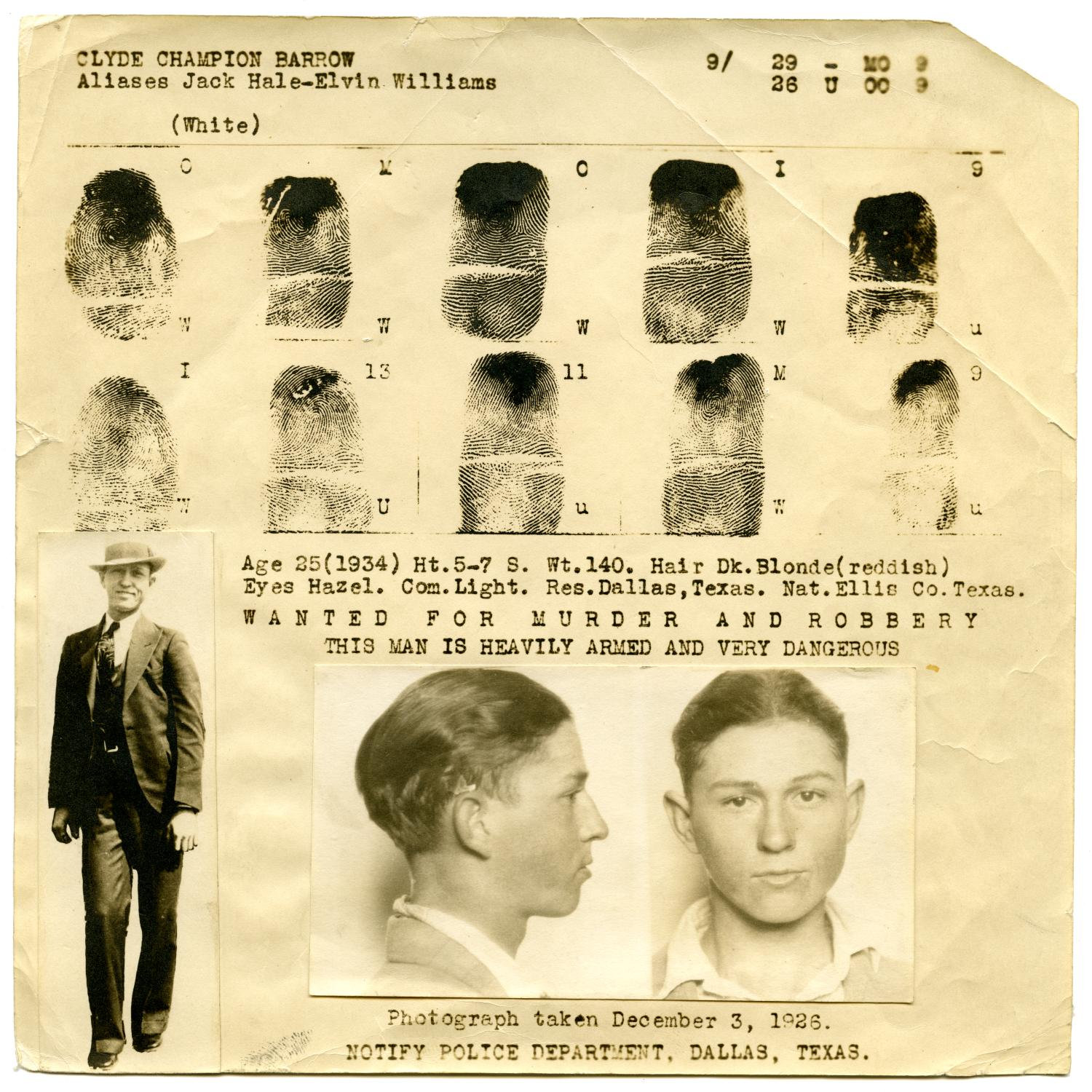 [Clyde Champion Barrow Fingerprint Chart, 1934 - Dallas, Texas Police Department]                                                                                                      [Sequence #]: 1 of 2