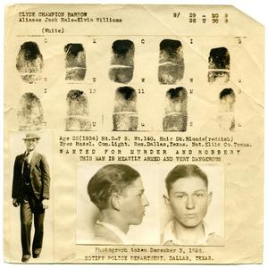 Primary view of object titled '[Clyde Champion Barrow Fingerprint Chart, 1934 - Dallas, Texas Police Department]'.