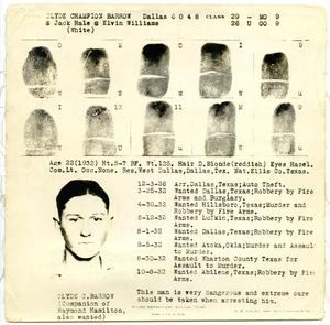 Primary view of object titled '[Clyde Champion Barrow Fingerprint Chart, 1932 - Dallas, Texas Police Department]'.