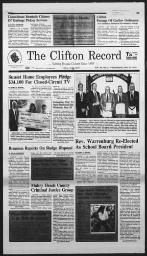 Primary view of object titled 'The Clifton Record (Clifton, Tex.), Vol. 99, No. 21, Ed. 1 Wednesday, May 25, 1994'.