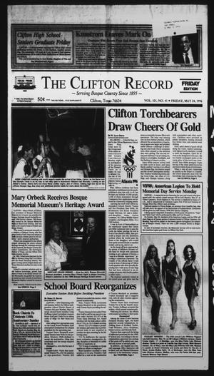 Primary view of object titled 'The Clifton Record (Clifton, Tex.), Vol. 101, No. 41, Ed. 1 Friday, May 24, 1996'.