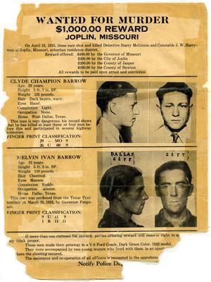 Primary view of object titled '[Clyde Champion Barrow and Marvin Barrow Wanted Poster, 1933 - Joplin, Missouri]'.