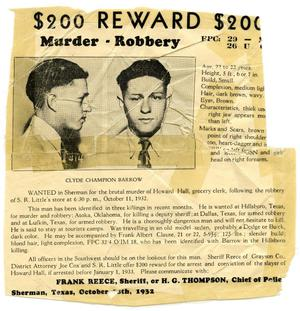 [Clyde Champion Barrow Wanted Poster, 1932 - Sherman, Texas]