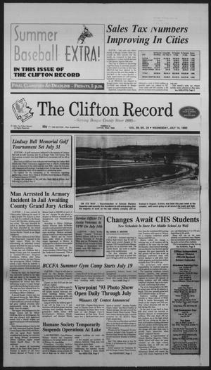 Primary view of object titled 'The Clifton Record (Clifton, Tex.), Vol. 98, No. 28, Ed. 1 Wednesday, July 14, 1993'.