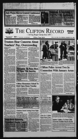 Primary view of object titled 'The Clifton Record (Clifton, Tex.), Vol. 101, No. 23, Ed. 1 Friday, March 22, 1996'.