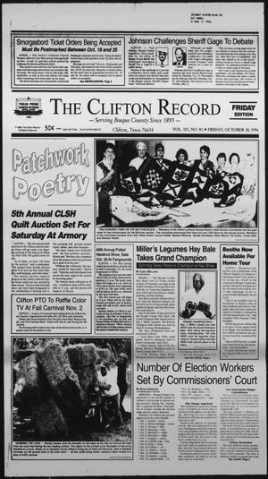 Primary view of object titled 'The Clifton Record (Clifton, Tex.), Vol. 101, No. 83, Ed. 1 Friday, October 18, 1996'.