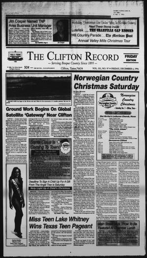 Primary view of object titled 'The Clifton Record (Clifton, Tex.), Vol. 101, No. 97, Ed. 1 Friday, December 6, 1996'.