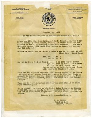 [Clyde Champion Barrow Wanted Report, 10/13/1932 - Abilene, Texas]