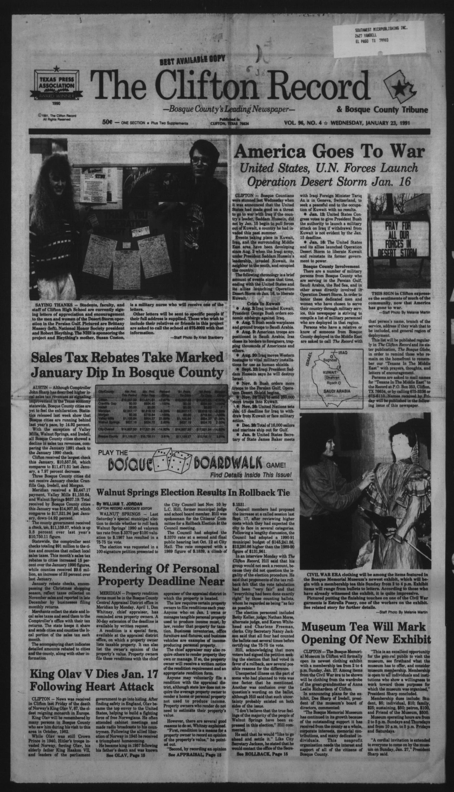 The Clifton Record and Bosque County Tribune (Clifton, Tex.), Vol. 96, No. 4, Ed. 1 Wednesday, January 23, 1991                                                                                                      [Sequence #]: 1 of 16