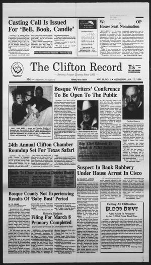 Primary view of object titled 'The Clifton Record (Clifton, Tex.), Vol. 99, No. 2, Ed. 1 Wednesday, January 12, 1994'.