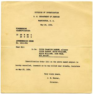 Primary view of object titled '[FBI Wanted Report Cancellation, 05/18/1934]'.