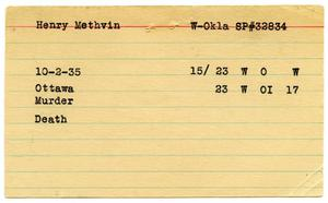 Primary view of object titled '[Henry Methvin Oklahoma State Penitentiary Index Card, 1935]'.