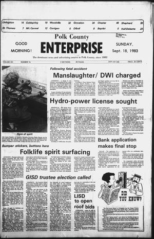 Primary view of object titled 'Polk County Enterprise (Livingston, Tex.), Vol. 101, No. 76, Ed. 1 Sunday, September 18, 1983'.