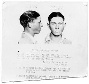 Primary view of object titled '[Clyde Champion Barrow Mug Shot - Dallas 6048]'.