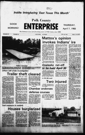Primary view of object titled 'Polk County Enterprise (Livingston, Tex.), Vol. 101, No. 28, Ed. 1 Thursday, April 7, 1983'.