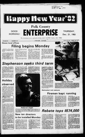 Primary view of object titled 'Polk County Enterprise (Livingston, Tex.), Vol. 99, No. 105, Ed. 1 Thursday, December 31, 1981'.