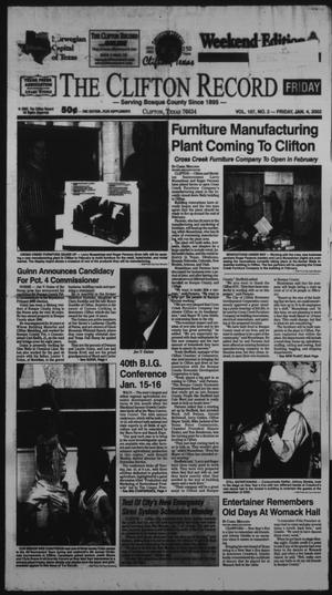 Primary view of object titled 'The Clifton Record (Clifton, Tex.), Vol. 107, No. 2, Ed. 1 Friday, January 4, 2002'.