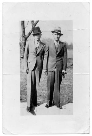Primary view of object titled '[Clyde Barrow, left, and Raymond Hamilton]'.