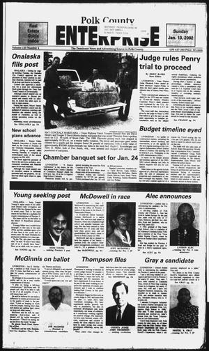 Primary view of object titled 'Polk County Enterprise (Livingston, Tex.), Vol. 120, No. 4, Ed. 1 Sunday, January 13, 2002'.