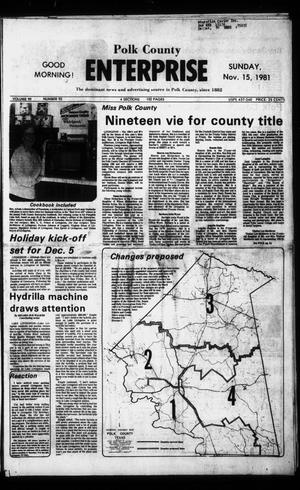 Primary view of object titled 'Polk County Enterprise (Livingston, Tex.), Vol. 99, No. 92, Ed. 1 Sunday, November 15, 1981'.