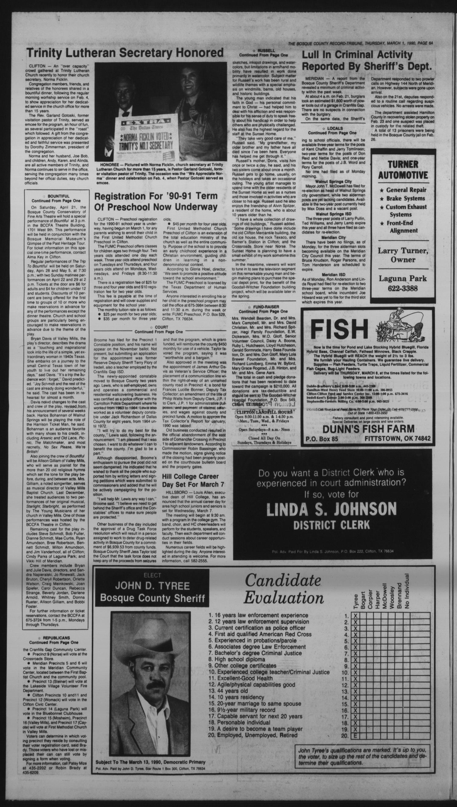 The Bosque County Record Tribune (Clifton, Tex ), Vol  95