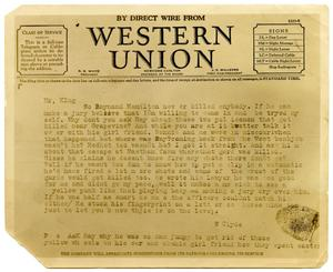 Primary view of object titled '[Clyde Barrow Telegram to Dallas, Texas District Attorney]'.