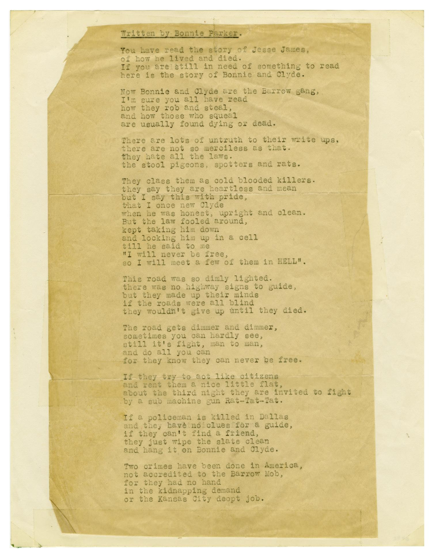 [Poem by Bonnie Parker]                                                                                                      [Sequence #]: 1 of 2