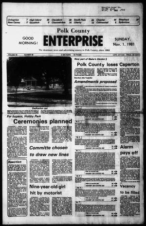 Primary view of object titled 'Polk County Enterprise (Livingston, Tex.), Vol. 99, No. 88, Ed. 1 Sunday, November 1, 1981'.