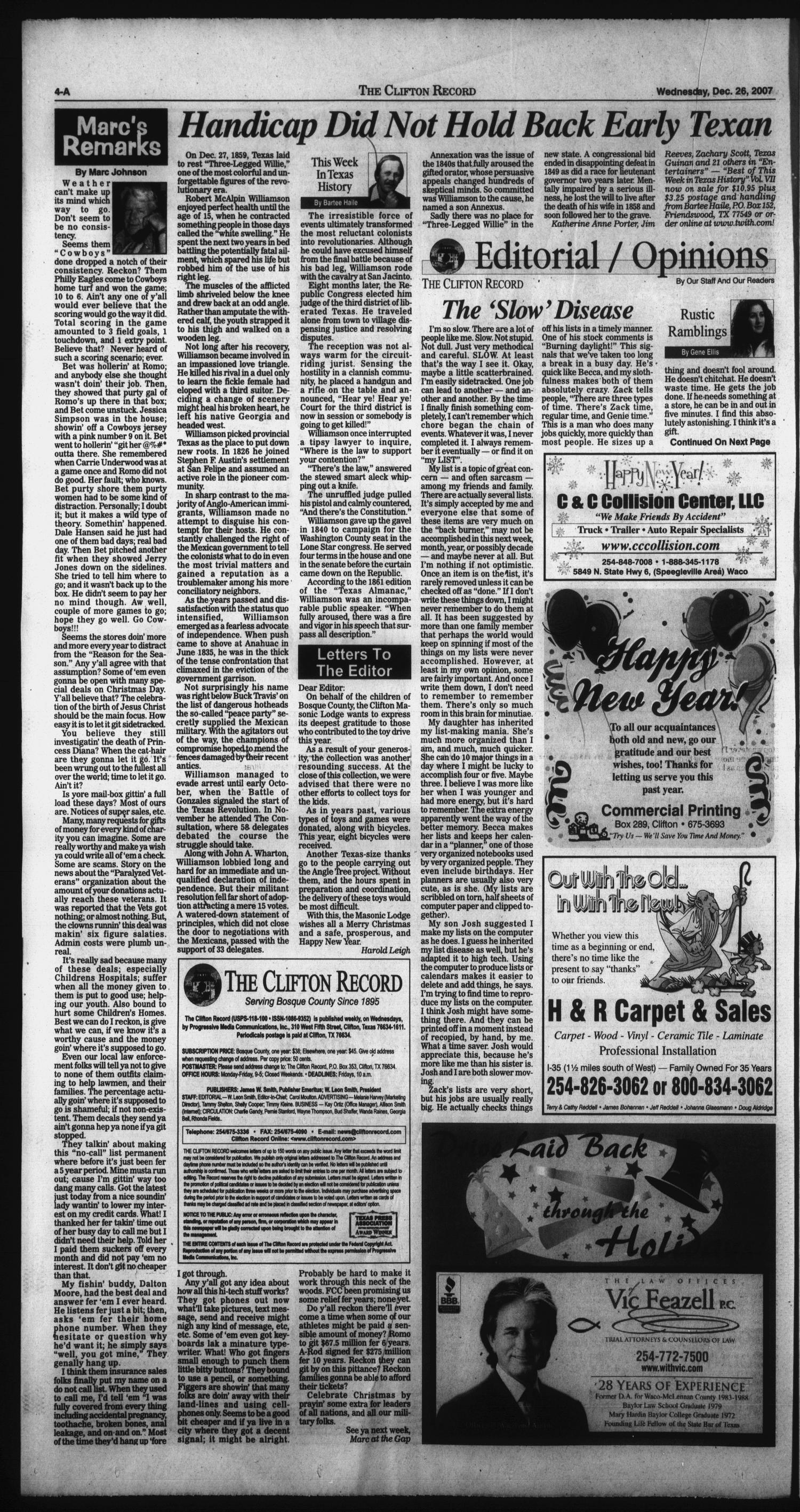 The Clifton Record (Clifton, Tex.), Vol. 112, No. 52, Ed. 1 Wednesday, December 26, 2007                                                                                                      [Sequence #]: 4 of 26